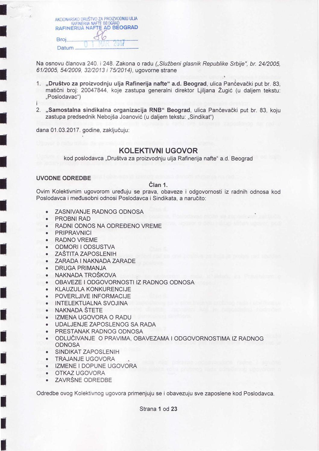 Kolektivni ugovor kod poslodavca Društva za proizvodnju ulja Rafinerija nafte a.d. Beograd