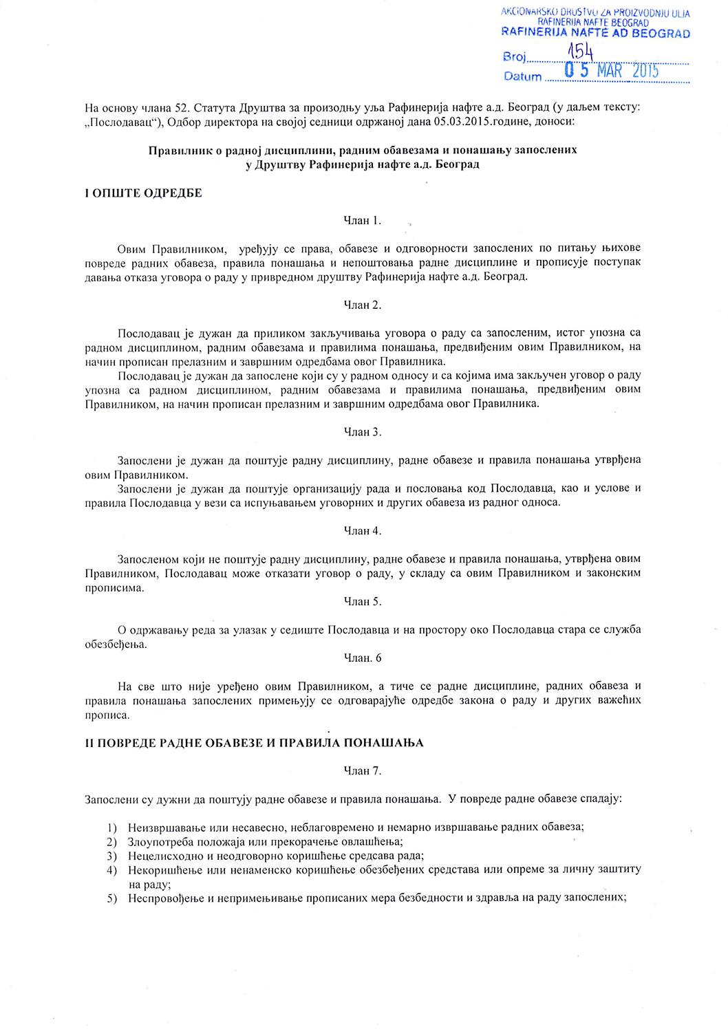 3. Pravilnik o radnoj disciplini, radnim obavezama i ponašanju zaposlenih